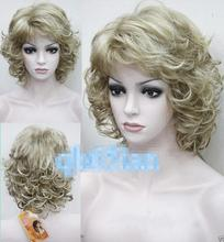 Heat Resistant Cosplay party TJ***** Light Blonde Length Curly women Natural Hair full wig peruca hair queen lady's