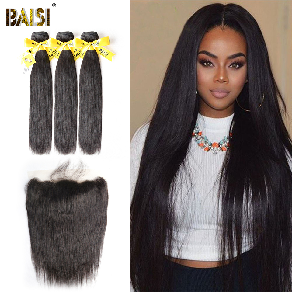 BAISI Hair Unprocessed Human Hair Peruvian Straight Virgin Hair 3 Bundles with 13x4 Lace Frontal 100