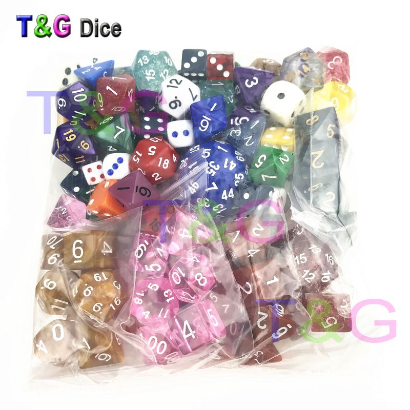 T&G Wholesale Bulk Plastic Multi-sided Dice Set 100pcs/set In  Random Color /style for Entertainment/Party Game/Education/Gift