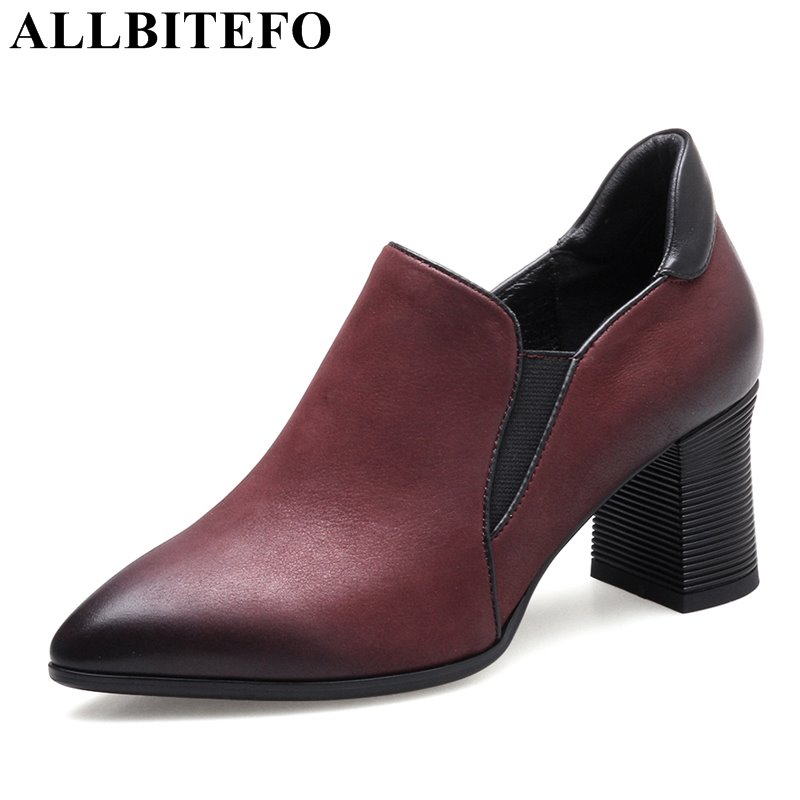 ALLBITEFO thick heel full genuine leather pointed toe women pumps fashion leisure high quality girls high heels shoes high heels allbitefo full genuine pointed toe high heels women pumps fashion sexy buckle thick heel office shoes spring high heel shoes