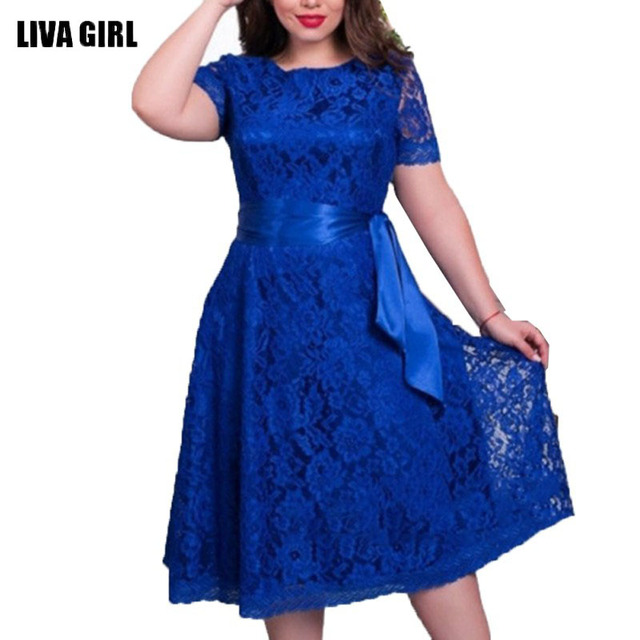 Sexy Dress European Style Vintage Lace Dresses For Women Elegant Dress Fit and Flare Empire Sashes Party Midi Dresses
