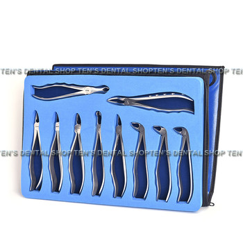 high quality 2018 10 pcs/set Tooth Extracting Forceps Pliers with Toolkit Dental Surgical Extraction Instruments