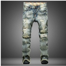 High top quality males's jeans hole Casual ripped jeans males hiphop pants Straight jeans for males denim trousers jeans males