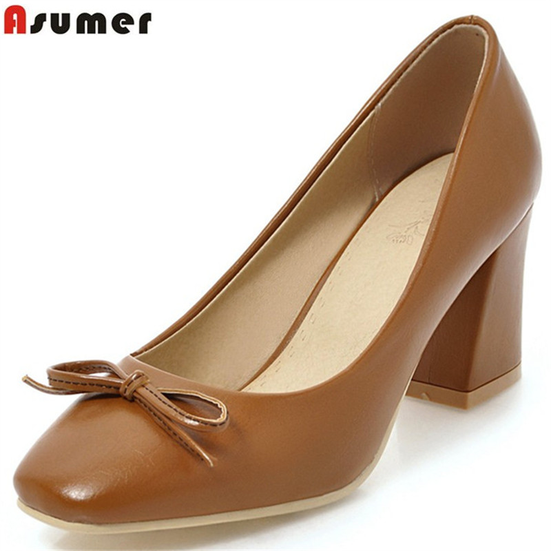 ASUMER apricot brown fashion spring autumn pumps shoes woman square toe  shallow square heel women high eecd02806092
