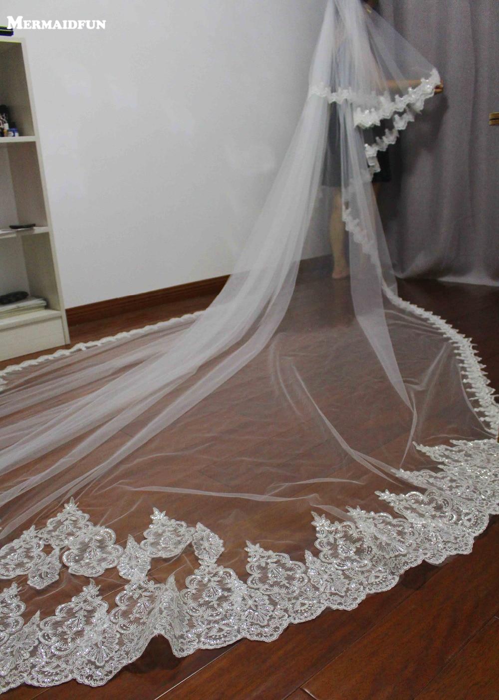 4 meter fuld kant med snøre to lagssekvenser smuk lang brudekjole velos de novia brudeslør
