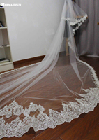 4 Meters Full Edge With Lace One Layer Sequins Beautiful Long Wedding Veil Velos De Novia