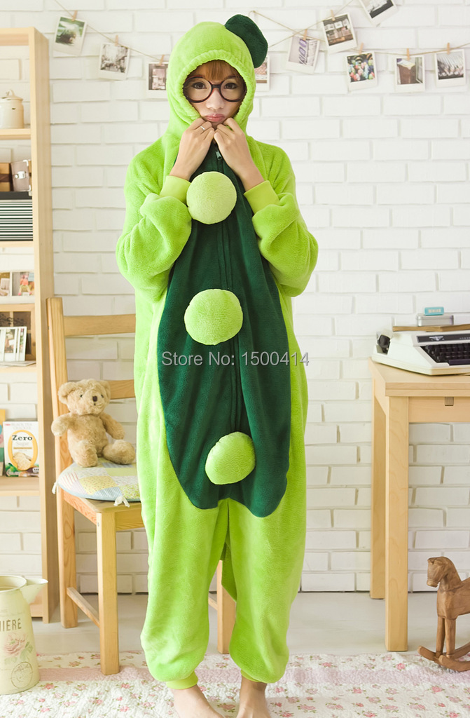 Adults Flannel Kigurumi Pea Costume Women Onesie Pajamas For Halloween Carnival Party-in Boys Costumes from Novelty u0026 Special Use on Aliexpress.com ... & Adults Flannel Kigurumi Pea Costume Women Onesie Pajamas For ...