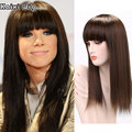 Long Mix Brown Wig High Quality Synthetic Wigs For Black/White Women Cheap Wigs With Bangs Fashion Ladies Wigs Long Fake Hair