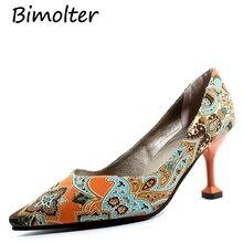 Bimolter Women Fashion Retro Printing Flowers Pumps High Thin Heels Shoes Woman Platform Summer FB004