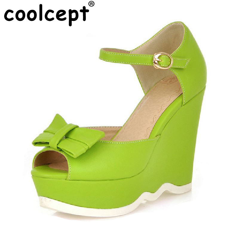 ФОТО CooLcept free shipping quality wedge sandals platform women sexy fashion lady female shoes P14042 hot sale EUR size 34-39
