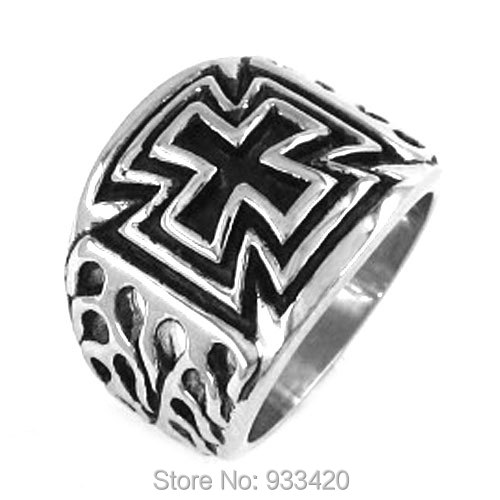 Free shipping! Classc Flame Cross Ring Stainless Steel Jewelry Cool Tribal Motor Biker Ring SWR0195