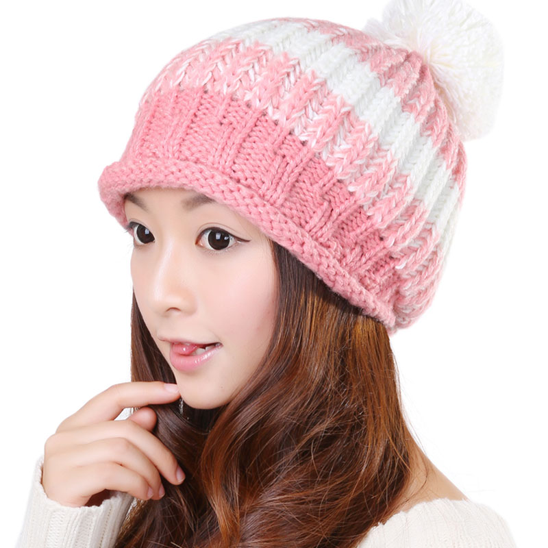 BomHCS Sweet Autumn Winter Women Wool Handmade Knit Hat Lady Elastic Fashion Simple Ear Muff Knitted Beanie Hats Cap bomhcs korean cute autumn winter warm color mosaic knitted hat ear muff 100% handmade women beanie cap