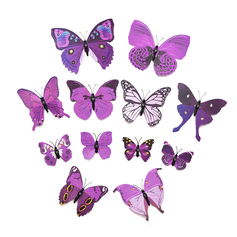 12PCS 3D Wall Sticker butterflies Stickers for Home Living Room Kids Bed Room Decoration PVC DIY poster wall Sticker