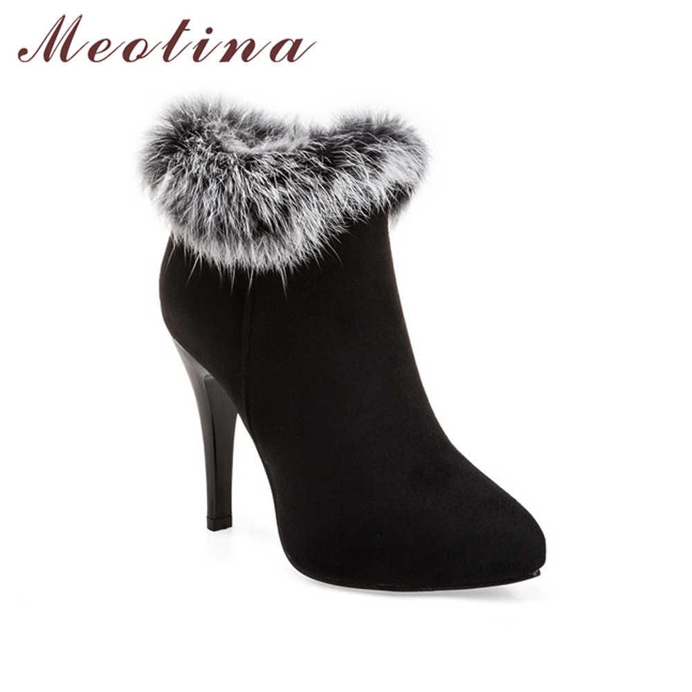 Meotina Ayakkabı Kadınlar Yüksek Topuklu yarım çizmeler Kış Çizmeler Kürk Platformu Yüksek Topuklu Bayan Botları Zip Beyaz Mor Büyük Boy 11 44 45