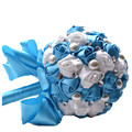 Color Optional Hand Holding Ball Bridal Bouquets Pearl Beaded Ribbon Wedding Bouquet Blue White Artificial Silk Flowers Q341