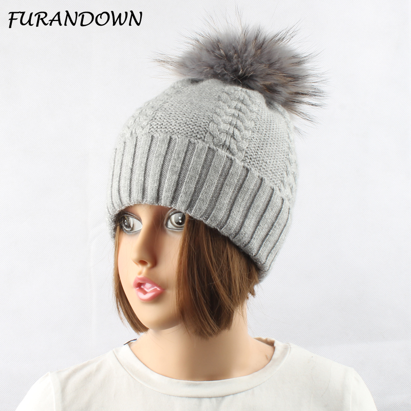 FURANDOWN 15cm Pompom Mink Fur Hat Women Winter Beanie Hats Knitted Wool Beanies cap women s winter beanie hat wool knitted cap shining rhinestone beanie mink fur pompom hats for women