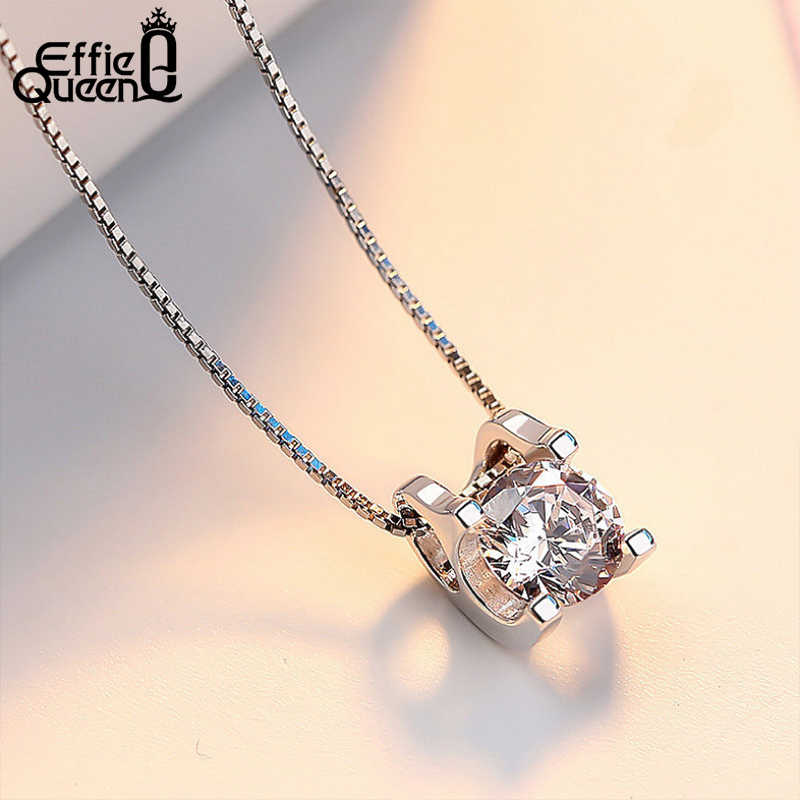 Effie Queen Fashion Women Pendant Necklace Round AAA Cubic Zircon Square Shape Box Chain Necklaces Female Jewelry Kolye WN05
