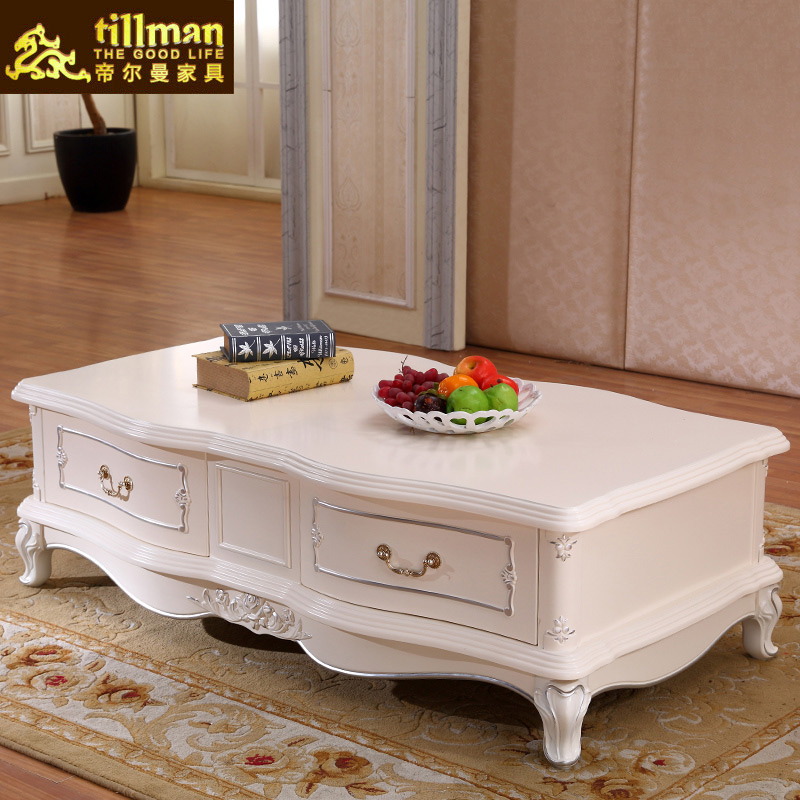 Marble Coffee Table With Drawers: French Carved Wood Coffee Table European Style Marble