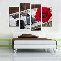 4 יחידות מצלמה קלטת סט משולב אדום רוז פרח ציורי תמונת אמנות קיר בד מודרני ציור קיר בית תפאורה לא ממוסגר