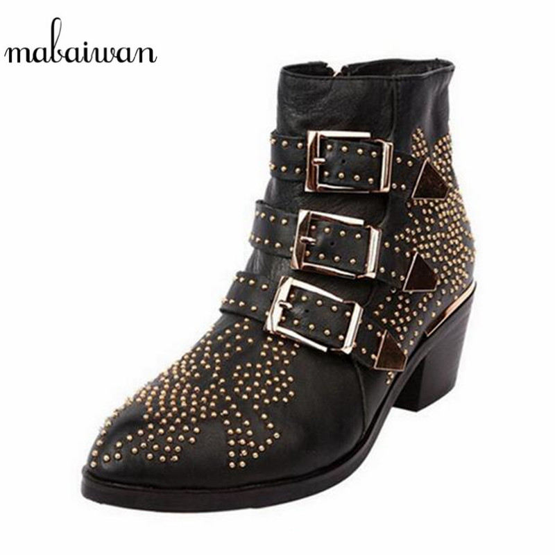Mabaiwan Fashion British Rivets Famous Designer Martin Boots Women Shoes Flats Ankle Boots Women Autumn Winter Snow Short Boots women s fall winter flats ankle boots brand designer british style round toe martin boots great pu leather short booties shoes