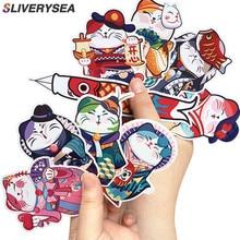 цена на 9pcs/lot Japan Cute Lucky Cat Animals Stickers For Suitcase Bike Laptop Bedroom decoration cartoon PVC Sticker #B1425