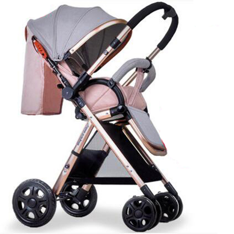 Baby stroller super light portable high landscape simple folding baby sitting and lying baby trolley of homehang folding baby stroller lightweight baby prams for newborns high landscape portable baby carriage sitting lying 2 in 1