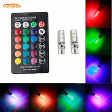 1 Set Car Interior RGB LED T10 Car Reading Light With Remote Controller 5050 SMD Lamp Bulb Auto Interior Lamps Clearance light