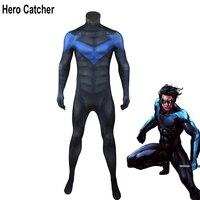 Герой зрелище высокого качества Arkham City ночь крыла Косплей Костюм с мышц тени для человека Nightwing костюм для Хэллоуина