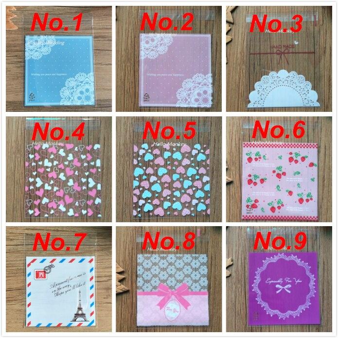50ps/set 10x10cm 27 Colors Dots Self-adhesive Gift Food Packing Bag Cute Small Biscuit Bag Cellophane Bag Plastic Bag/retail