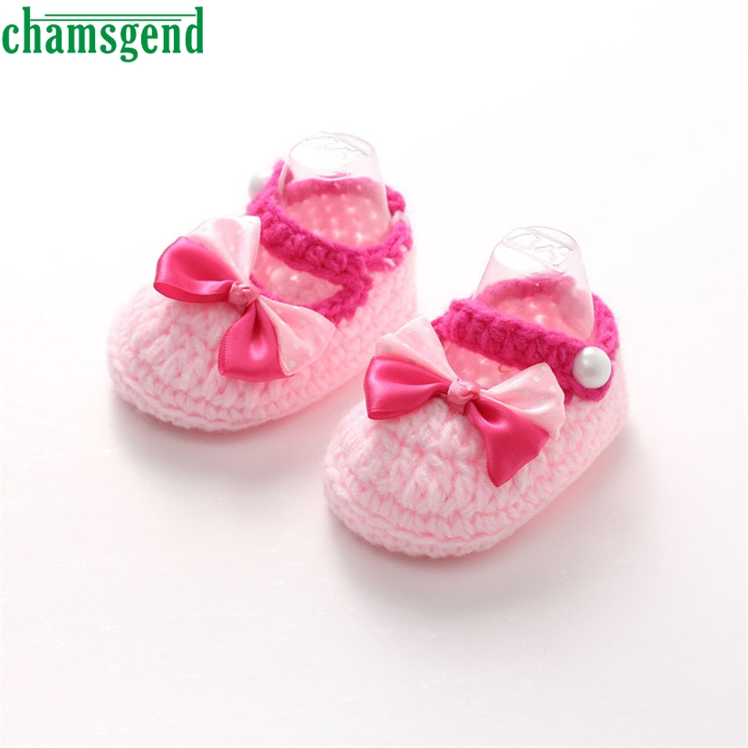CHAMSGEND Best Seller Crib Crochet Casual Baby Girls Handmade Knit Sock Bow Infant Shoes Cute S35