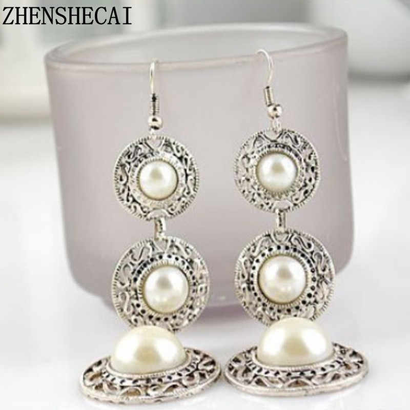 Vintage shell shape   earrings imitation pearl consecutive long pendant ancient sliver earring hang jewelry for women e0389