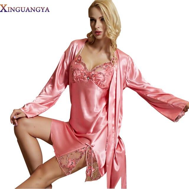 Горячая Продажа 2017 Реал Женщины Одеяние Устанавливает Твердые Полный Рукав Розовый Халат Twinset Кружева Вышивка Ночные Рубашки Эмуляции Шелковые Пижамы