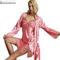 Venda quente 2017 Real Mulher Robe Define Luva Cheia Sólida Roupão Rosa Twinset Rendas Bordado Camisolas Emulação Pijamas de Seda