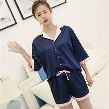 В Корейском стиле пикантные Twinset женская атласная пижама Наборы Notch Collar Рубашка с короткими рукавами рубашки + Короткие штаны Пижамный костюм женский пижамы