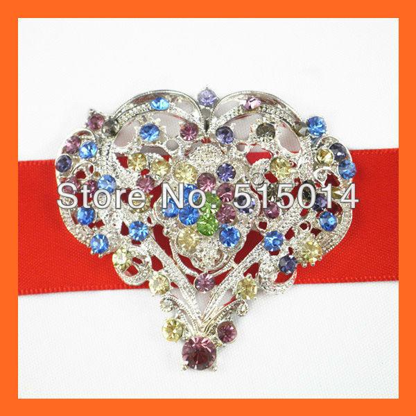 Free Shipping!100pcs/lot 55*55mm Heart  Vintage Rhinestone Brooch,Flatback ,Wedding Invitation Brooch For Cards