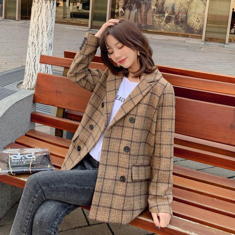 Women casual woolen jacket Plaid wool Blazer suit Female Autumn winter feminino plaid suit jacket Suit Plaid Loose Blazer