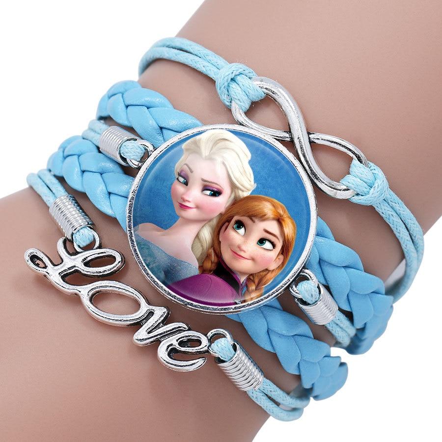 Детский Браслет Принцессы Диснея с героями мультфильма «Холодное сердце», Эльза, прекрасный подарок для девочек, аксессуары для одежды, детский браслет, украшения для макияжа - Цвет: 14