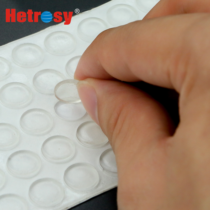Hetrosy 100PCS Glass Rubber Adhesive Bumper Cabinet Door Silicones Self Adhesive Stick Premium Rubber Protective Pads 10MM*2MM