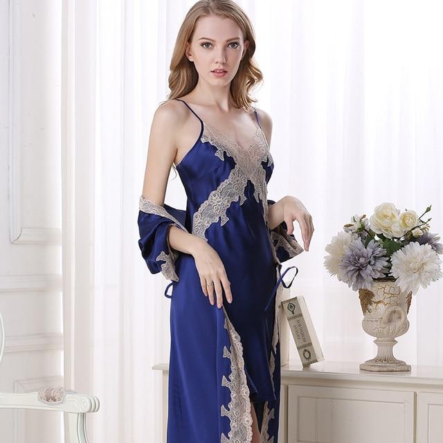 Robe Sets Female Softness Satin Silk Sleepwear Women Lace Embroidery Two-Piece Sexy V-Neck Bathrobes High Quality Free Shipping