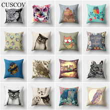 CUSCOV lovely animal polyester sofa cushion cover colorful owl wedding decoration pillow case car seat fashion gift