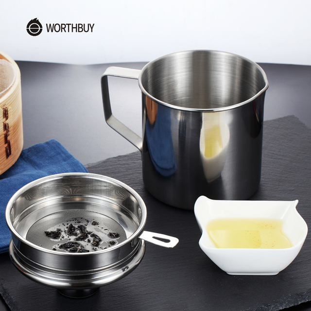 Worth Multifunction Stainless Steel Kitchen Colander Filter Strainer Residue Oil Oiler With Lid Sieve Mesh Accessorie