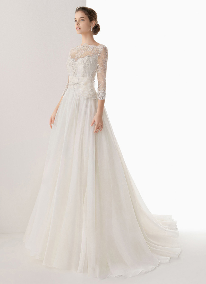 Court Retro Vintage White Floor Length Long Wedding Dress Brides Lace Slash Neck Three Quater Sleeve A Line Party Maxi In Dresses From