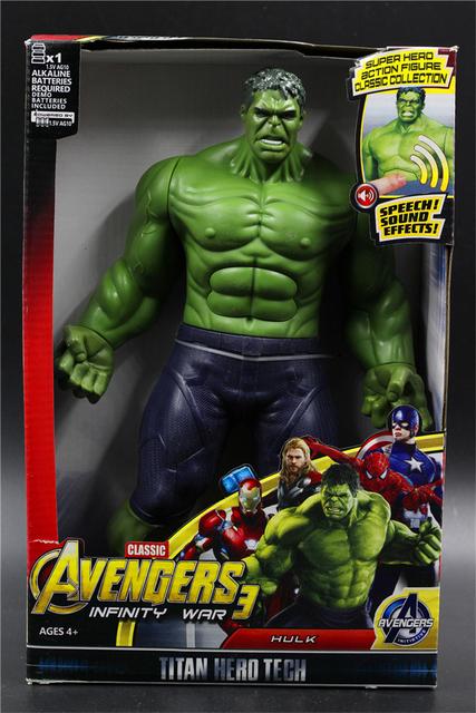 30CM dźwięk i światło figurka prezenty Avengers Iron Man Hulk kapitan ameryka Thor Thanos Batman Spider-lalka człowiek chłopcy prezent