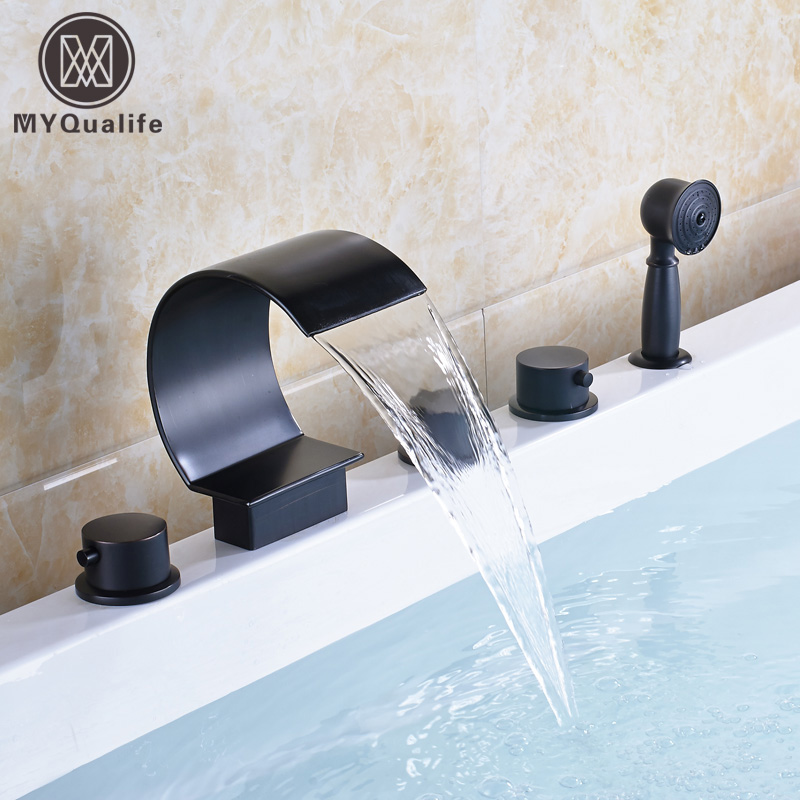 цены  Modern Black Deck Mounted Waterfall 5pc Bathtub Faucet Set with Handshower Widespread Brass Spout 3 Knob Tub Mixer