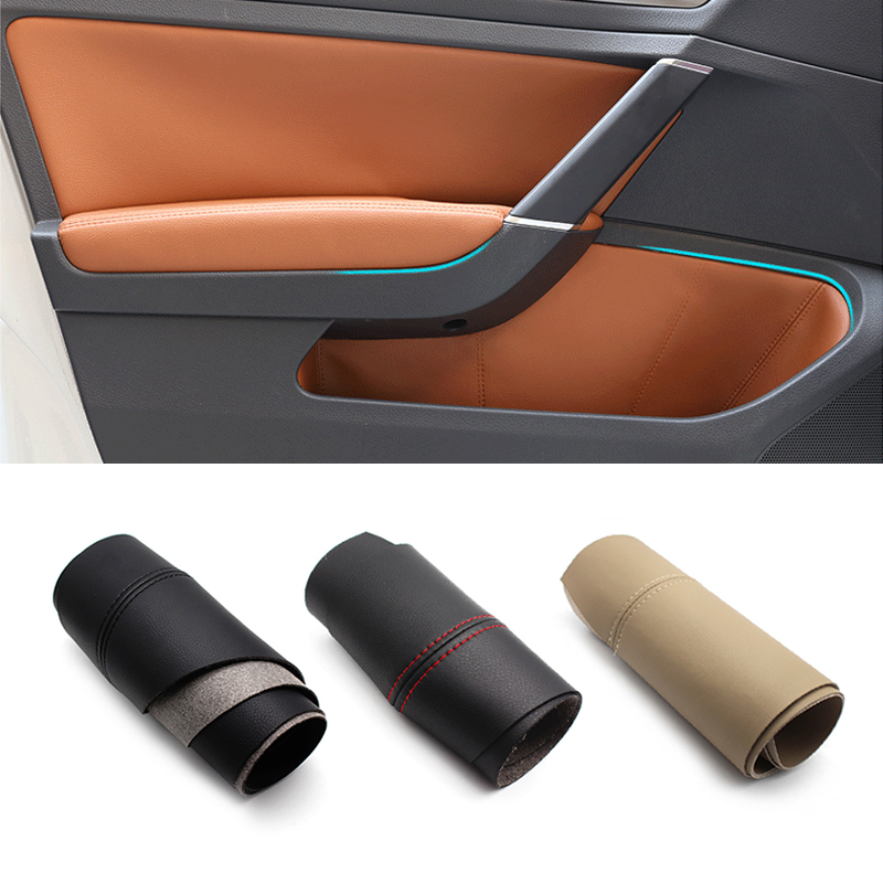 4pcs/set Interior Microfiber Leather Car Door Slot / Armrest Panel Protective Cover Mat For VW Golf 7 2014 2015 2016 only LHD