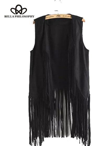 2016 autumn winter new wholesale fringed tassels faux suede sleeveless asymmetrical vest jacket