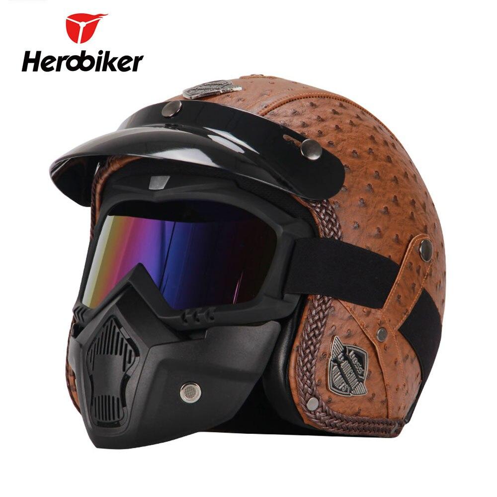 HEROBIKER Rétro Vintage Style Allemand Moto Casque 3/4 Face Ouverte Casque Chopper Cruiser Biker Casco Moto Casque Lunettes Masque