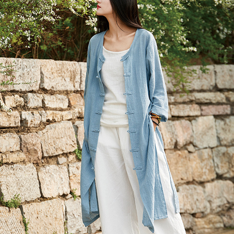 Johnature Chinese Style Women Solid Color Long   Trench   Coats New 2018 Spring New Cotton Linen Vintage O-Neck Plate Buckle Coats