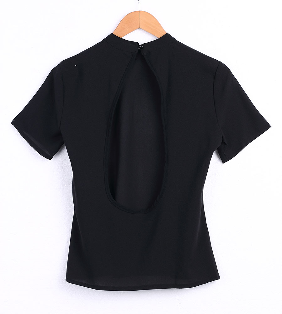 2018 New Women Blouse Fashion Black Backless Sexy Tops Cute Short