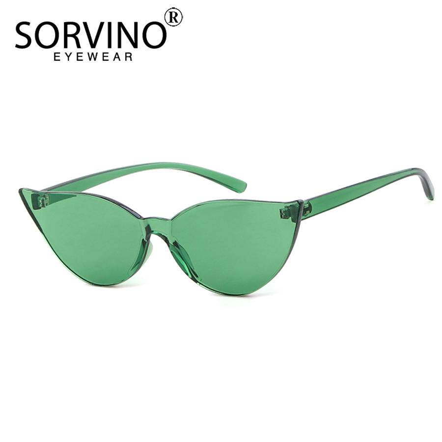 30657ce424 SORVINO 2018 Retro Rimless Cat Eye Sunglasses Women Brand Designer 90s  Trendy Small Green Orange Cateye Sun Glasses Shades SP164